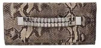 Michael Kors Embellished Snakeskin Clutch - GREY - STYLE