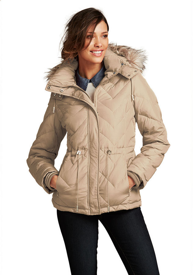 Kenneth Cole NEW YORK Hooded Puffer Jacket with Faux Fur Trim