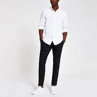 River Island White wasp embroidered grandad Oxford shirt