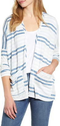 Bobeau Rumor Stripe Dolman Sleeve Open Cardigan