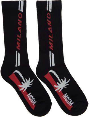 MSGM Black Milano Palm Socks