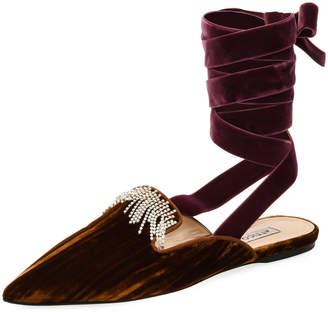 ATTICO Anne Crystal-Embellished Velvet Ankle-Wrap Mule