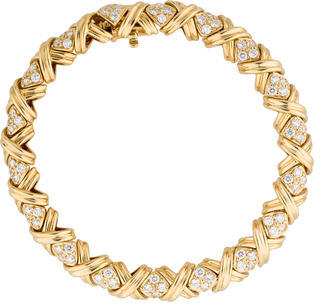 Tiffany & Co. 18K and Diamond Signature X Link Bracelet $12,250 thestylecure.com