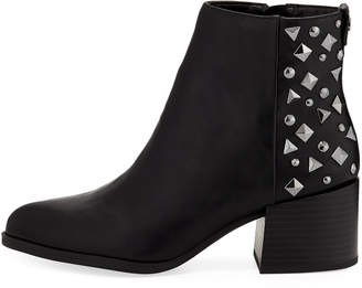 Sam Edelman Jamie Studded-Back Faux-Leather Booties, Black