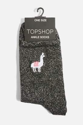 Topshop Embroidered Llama Glitter Socks