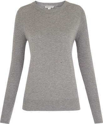 Whistles Zip Cuff Crew Neck Knit