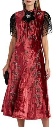 Erdem Women's Pembroke Embellished Velvet Dress