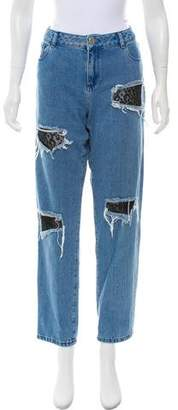 House of Holland Mid-Rise Straight-Leg Jeans