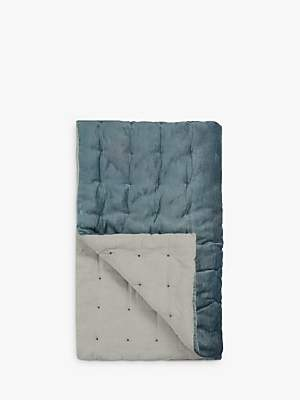Croft Collection Velvet Quilted Bedspread, Slate