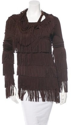 Jean Paul Gaultier Fringe-Trimmed Long Sleeve Top w/ Tags $540 thestylecure.com