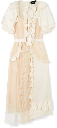 Simone Rocha Ruffled Silk-satin Midi Dress - Cream