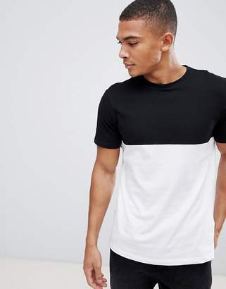 New Look color block t-shirt in black and white