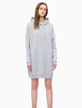 Calvin Klein Logo Hooded Sweatshirt Dress