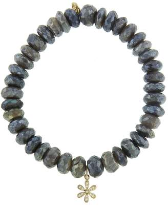 Sydney Evan Flower Charm On Labradorite Beaded Bracelet