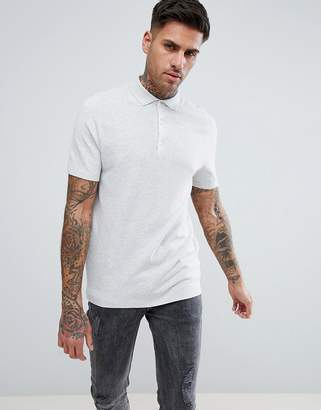 New Look Slim Textured Polo In Light Gray