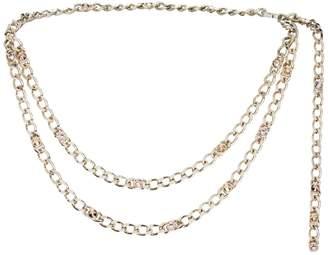 St. John Metal & Swarovski Crystal Chain Link Double Strand Belt