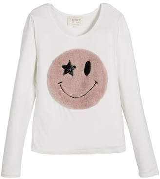 Hannah Banana Long-Sleeve Top w/ Faux Fur Smiley Face, Size 7-14