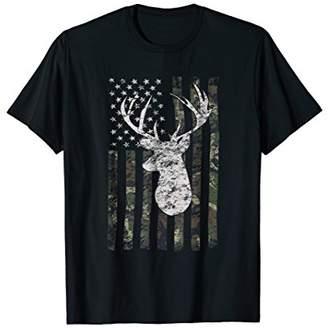 Camouflage American Flag Deer Hunting T-shirt