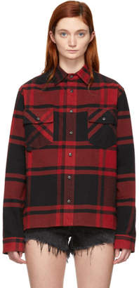 Off-White Black and Red Flannel Stencil Shirt