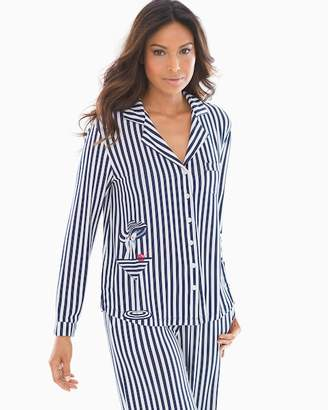 50d7931c28 Cool Nights Long Sleeve Notch Collar Pajama Top Poised Placement Navy