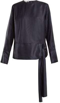 Stella McCartney Tie Side Striped Silk Top - Womens - Navy