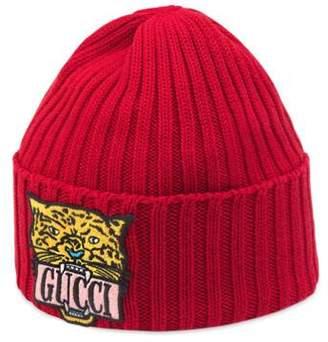 Gucci Children s knit hat with tiger patch 8cfaea9d3e0