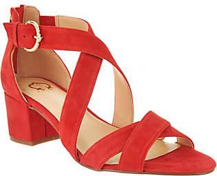 C. Wonder Suede Cross Band Sandals with BlockHeel - Louisa