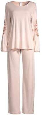 Hanro Jana Long Sleeve Embroidered Pajamas
