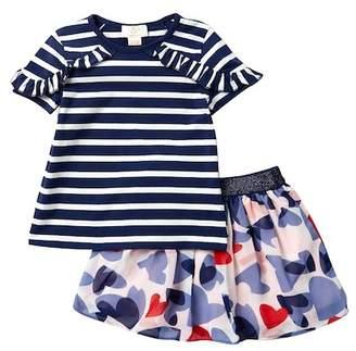 Kate Spade striped top & confetti hearts skirt (Toddler & Little Girls)