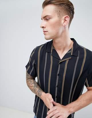 New Look Revere Shirt With Havana Stripe In Black