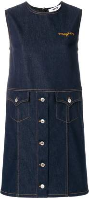 MSGM sleeveless denim shift dress