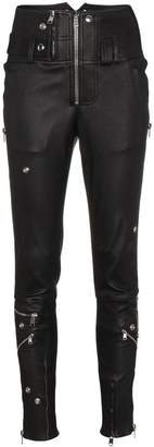 Alexander McQueen Leather high waisted skinny trousers with zip detail