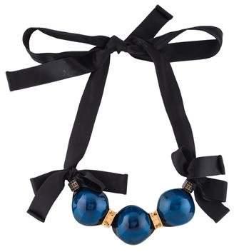 Marni Resin, Crystal & Ribbon Collar Necklace