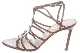 Valentino Woven Leather Cage Sandals Pewter Woven Leather Cage Sandals