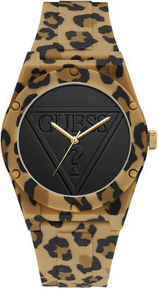 GUESS Women's Animal Print Silicone Strap Watch 32mm