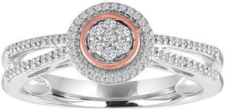 FINE JEWELRY Diamond Blossom Womens 1/10 CT. T.W. Diamond Sterling Silver & 14K Rose Gold over Silver Cluster Ring