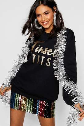boohoo Christmas Tinsel Tits Glitter Print Sweat Jumper