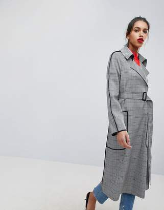 Asos Design Checked Mac With Contrast Piping