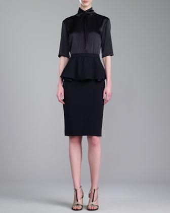 St. John Crepe Marocain Fitted Peplum Skirt, Caviar