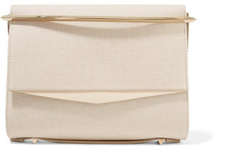 Boyd Small Leather-trimmed Cotton-canvas Clutch - Cream
