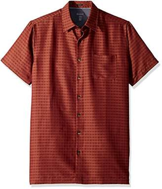 Van Heusen Men's Size Tall Slim Short Sleeve Button Down Rayon Poly Shirt