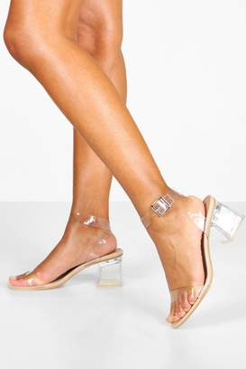 boohoo Clear Strap Low Block Heel 2 Parts
