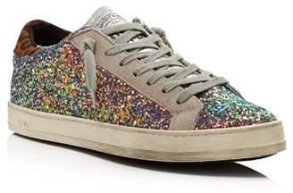 P448 Women's John Glitter & Suede Lace Up Sneakers