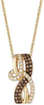 "LeVian Le Vian Chocolatier Diamond Loop 18"" Pendant Necklace (1/3 ct. t.w.) in 14k Gold"
