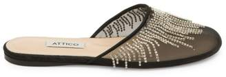 ATTICO Gina Netted Crystal Slip-On Flats