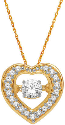 JCPenney FINE JEWELRY Love in Motion 1/4 CT. T.W. Diamond 10K Yellow Gold Heart Pendant Necklace