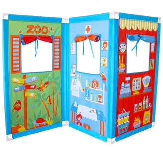 Kohl's Fun2Give Pop-It-Up Zig Zag Puppet Theatre & 4 Hand Puppets