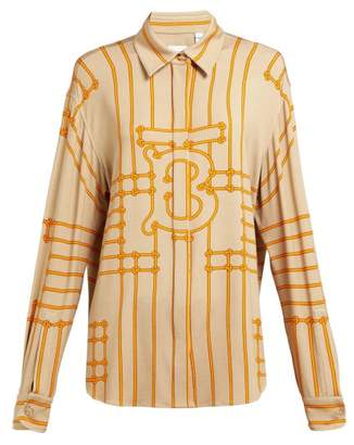 Burberry Monogram Print Silk Blend Shirt - Womens - Beige Multi