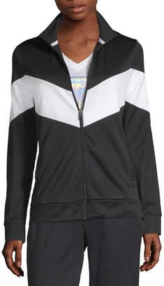 Xersion Chevron Track Jacket Mock Neck Long Sleeve Quarter-Zip Pullover