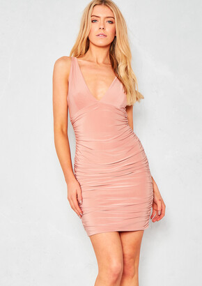 Missy Empire Missyempire Phoenix Dusty Pink Ruched Cross Back Slinky Bodycon  Dress 71c36c3a2